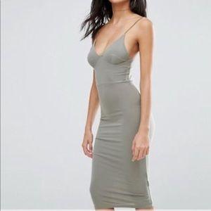 Green cami strap midi knee length dress